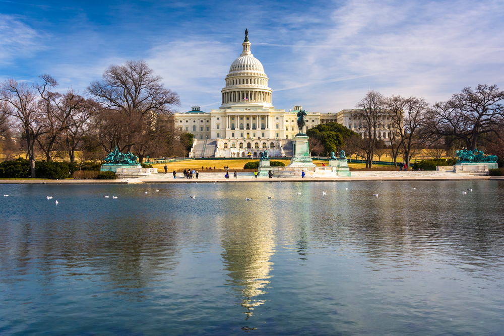 The United States Capitol and reflecting pool in Washington, DC.-1